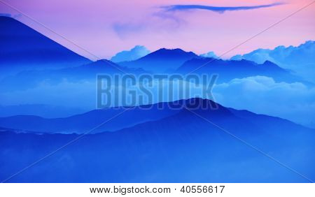 Hills and mountains in Bromo Tengger Semeru National Park at sunset. Java, Indonesia