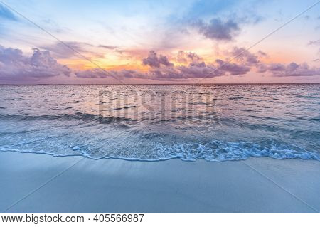 Inspirational Calm Sea With Sunset Sky. Meditation Ocean And Sky Background. Sandy Beach At Sunrise.