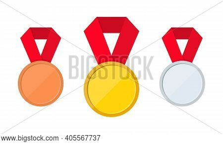 Set Of Gold, Silver And Bronze Medal Icons. First, Second And Third Place Or Award Medals Icon. Gold