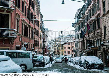 Rome, Italy - February 26, 2018: Via Sistina. Rome Under The Snow. Abnormal Snow Falls In Rome. Snow