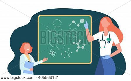 Happy Doctor Explaining Molecular Genetics To Kid. Girl, Atom, Chalkboard Flat Vector Illustration.