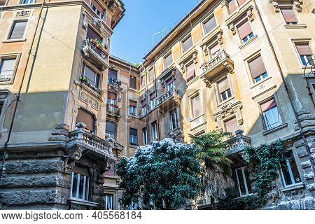 Rome, Italy - February 26, 2018: The Spider Palace. Abnormal Snow Falls In Rome. Snow On Rome For Th
