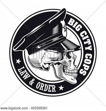 Monochrome Big City Cops Sticker Vector Illustration. Vintage Badge With Policeman Skull. Law And Or