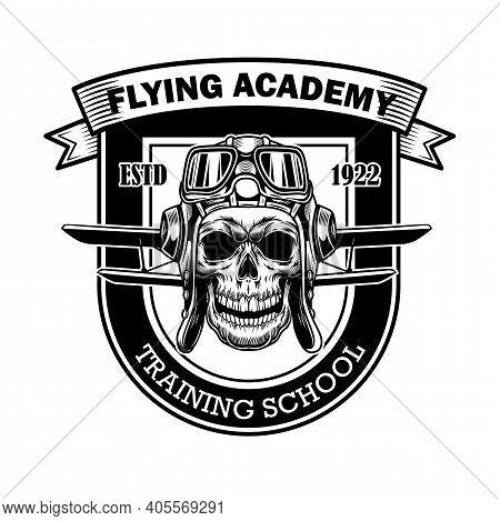 Flying Academy Badge Design. Monochrome Element With Skull In Pilot Helmet, Plane Wings Vector Illus