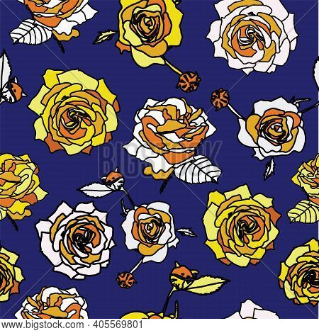Flower Seamless Vector Pattern, White, Yellow And Sand Color Roses On Blue Backround. Victorian Vint