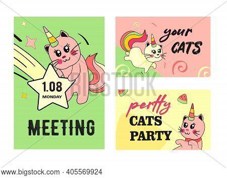 Unicorn Cat Invitation Cards Set. Funny Cartoon Baby Kitten With Rainbow Horn And Tail Vector Illust