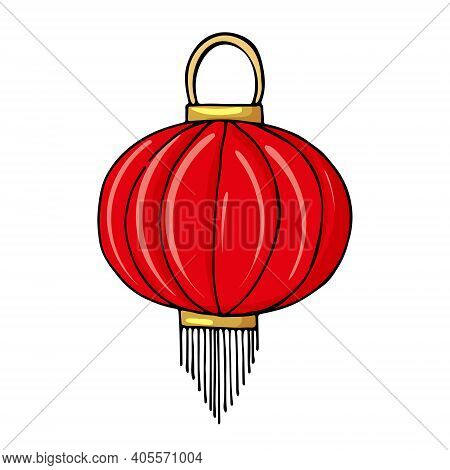 Hanging Traditional Chinese Lantern Oval Shape Red Color Decorated With Tassels. Vector Illustration