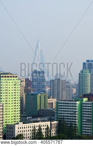 City Skyline In The Morning Fog. View On The New Residential Complex On The Othat Kangan Street And