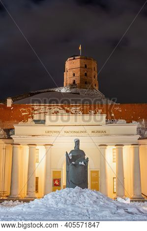 Vilnius, Lithuania - January 28 2021: National Museum Of Lithuania And Gediminas Statue And Tower Or