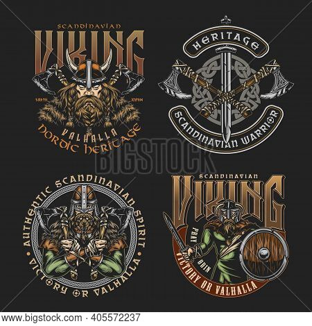 Colorful Viking Vintage Badges With Inscriptions Crossed Axes Sword Celtic Medieval Ornament Strong