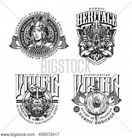 Viking Vintage Monochrome Badges With Strong Scandinavian Warriors Pretty Valkyrie Battle Axes Shiel