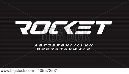 Italic Bold Speed Alphabet. Rocket Futuristic Font, Minimalist Type For Modern Sport Logo And Space