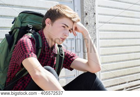 Vulnerable Teenage Boy On The Street After Leaving Home
