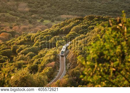 A Train Passes Through A Cutting Between The Maquis In The Evening Sun At Belgodere In The Balagne R