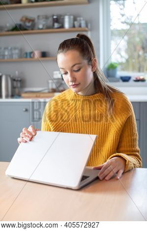 Woman Concerned About Excessive Use Of Internet Closing Lid Of Laptop Computer