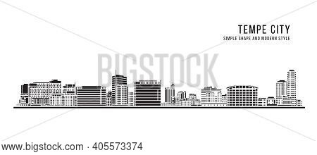 Cityscape Building Abstract Simple Shape And Modern Style Art Vector Design - Tempe City