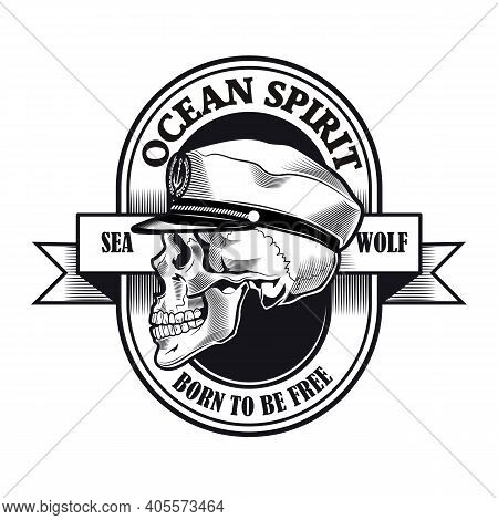 Captain Badge Design. Monochrome Element With Skull In Ship Captain Cap Vector Illustration With Tex