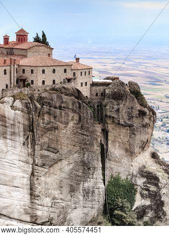 Monastery Of St. Stephen On Cliff. Greek Destinations. The Meteora Monasteries, Greece Kalambaka. Un