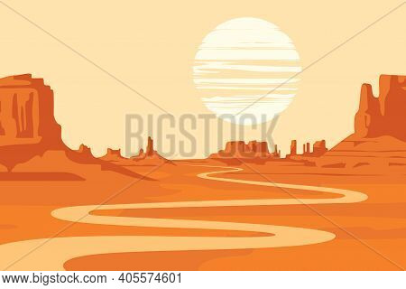 Hot Summer Landscape With Deserted Valley, Mountains And Winding River. Western Scenic Illustration.