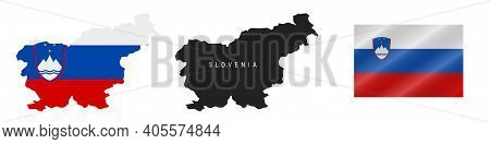 Slovenia. Map With Masked Flag. Detailed Silhouette. Waving Flag. Vector Illustration Isolated On Wh