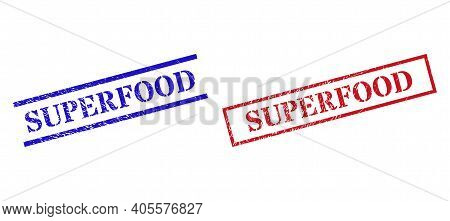 Grunge Superfood Rubber Stamps In Red And Blue Colors. Stamps Have Rubber Surface. Vector Rubber Imi