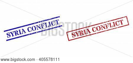 Grunge Syria Conflict Rubber Stamps In Red And Blue Colors. Stamps Have Rubber Style. Vector Rubber