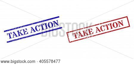 Grunge Take Action Rubber Stamps In Red And Blue Colors. Stamps Have Rubber Style. Vector Rubber Imi