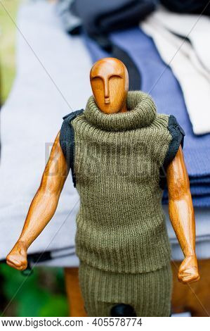 Clothing Fashion. Knitting Dress On Mannequin. Mannequins In Knitted Clothes.