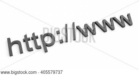 Internet Web Address Http Www In Search Bar Of Browser. 3d Rendering