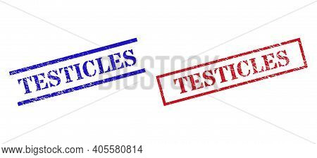 Grunge Testicles Rubber Stamps In Red And Blue Colors. Seals Have Rubber Style. Vector Rubber Imitat