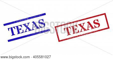 Grunge Texas Rubber Stamps In Red And Blue Colors. Stamps Have Rubber Texture. Vector Rubber Imitati