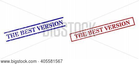 Grunge The Best Version Seal Stamps In Red And Blue Colors. Stamps Have Distress Style. Vector Rubbe