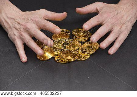 Golden Bitcoin Coin As A Digital Currency