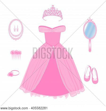 Vector Image Of A Dress, Crown, Shoes And Other Accessories For A Princess In Pink