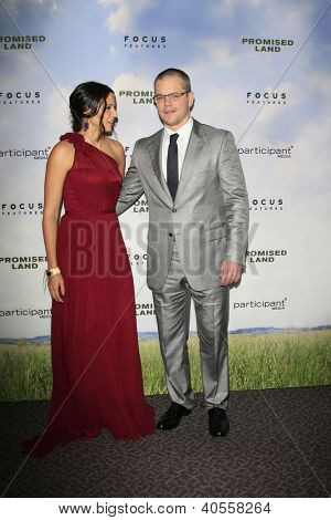 LOS ANGELES - DEC 6:  Matt Damon, Luciana Baroso arrive at the 'Promised Land' Premiere at Directors Guild of America on December 6, 2012 in Los Angeles, CA