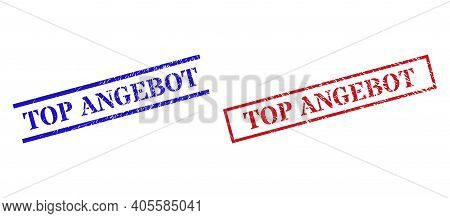 Grunge Top Angebot Rubber Stamps In Red And Blue Colors. Seals Have Rubber Texture. Vector Rubber Im