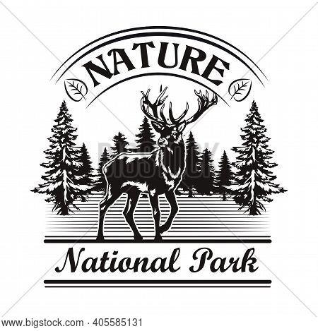 Nature And Park Symbol Design. Monochrome Element With Reindeer In Forest, Landscape Vector Illustra