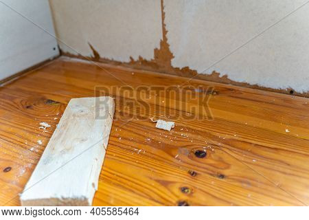 Room Renovation, Reconstruction And Remodeling - Close Up On Floor With Selective Focus