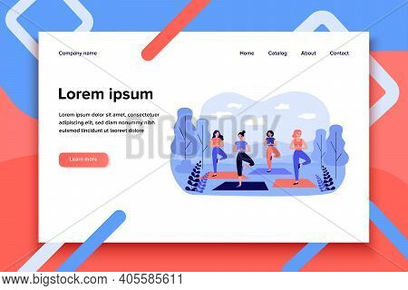 Happy Women In Sportswear On Outdoor Yoga Class In City Park Isolated Flat Vector Illustration. Cart