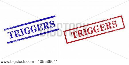 Grunge Triggers Seal Stamps In Red And Blue Colors. Stamps Have Draft Style. Vector Rubber Imitation