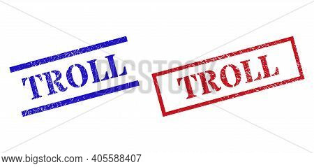 Grunge Troll Rubber Stamps In Red And Blue Colors. Stamps Have Rubber Texture. Vector Rubber Imitati