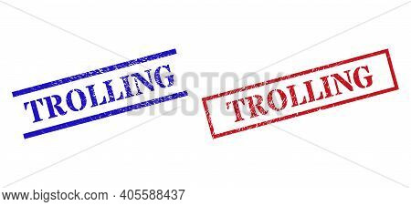 Grunge Trolling Seal Stamps In Red And Blue Colors. Stamps Have Rubber Style. Vector Rubber Imitatio