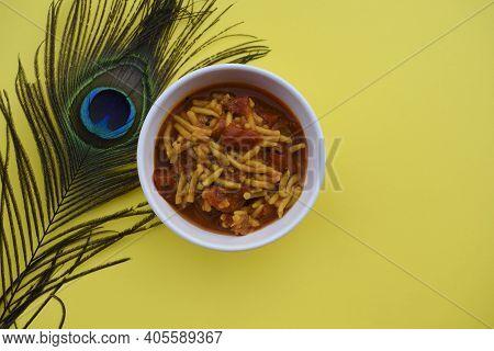 Gujarati Popular Side Dish Sev Tameta Or Shev Tamatar Curry Homemade Prepared From Tomato And Gramfl