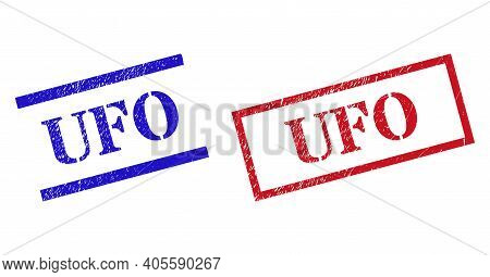 Grunge Ufo Rubber Stamps In Red And Blue Colors. Seals Have Rubber Texture. Vector Rubber Imitations