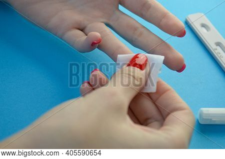 Disinfection Before Blood Test. Ring Finger Puncture For Capillary Blood Collection. Quick Tests To