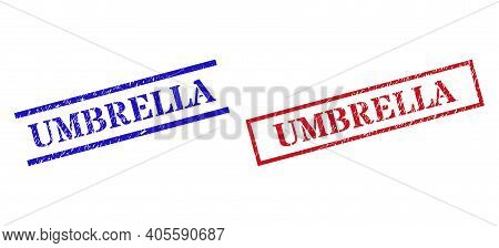 Grunge Umbrella Rubber Stamps In Red And Blue Colors. Stamps Have Rubber Style. Vector Rubber Imitat