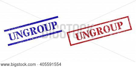 Grunge Ungroup Rubber Stamps In Red And Blue Colors. Stamps Have Rubber Surface. Vector Rubber Imita