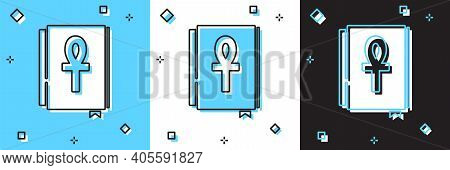 Set Cross Ankh Book Icon Isolated On Blue And White, Black Background. Vector