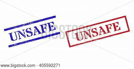 Grunge Unsafe Rubber Stamps In Red And Blue Colors. Stamps Have Rubber Surface. Vector Rubber Imitat