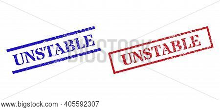Grunge Unstable Rubber Stamps In Red And Blue Colors. Seals Have Rubber Surface. Vector Rubber Imita